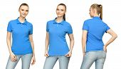 Set Promo Pose Girl In Blank Blue Polo Shirt Mockup Design For Print And Concept Template Young Woma poster