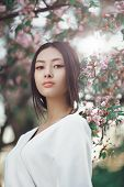 Gorgeous Asian Woman With Perfect Skin Creartive Art Make-up Wearing Trendy White Japanese Kimono St poster