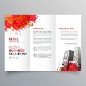 Abstract Red Ink Splatter Trifold Brochure Design Template poster