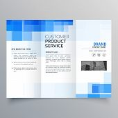Blue Square Geometric Trifold Brochure Design Template poster