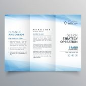 Business Blue Trifold Brochure Vector Design Template poster