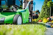 Lawn Care Machinery. Gasoline Dethatcher Pushing By Professional Gardener. Lawn Scarifier Theme. poster