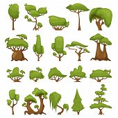 Set Of Abstract Stylized Vector Trees. Vector Park And Garden Trees And Bushes. Green Forest Plants  poster