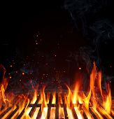 Grill Background - Empty Fired Barbecue On Black poster