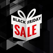 Origami Giftbox Of Black Friday Sale Vector poster