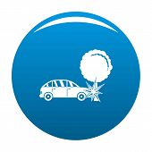 Crashed Tree Icon. Simple Illustration Of Crashed Tree Vector Icon For Any Design Blue poster