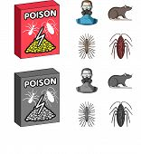 Staff, Packing With Poison And Pests Cartoon, Monochrome Icons In Set Collection For Design.pest Con poster