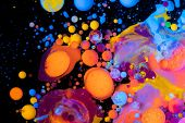 Ink Bubbles In Water. Abstract colorful paint. poster