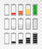 Battery Indicator Icon Set Isolated Isolated On A Transparent Background. Battery Icon Set .set Of B poster