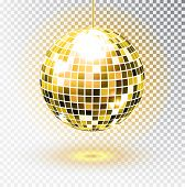 Golden Disco Ball. Vector Illustration. Isolated. Night Club Party Light Element. Bright Mirror Silv poster