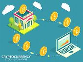 Cryptocurrency Stock Exchange Process Infographic. Vector Isometric Illustration. Buying, Selling Or poster