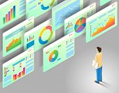 Data Analytics Concept. Vector Isometric Illustration Of Man Looking At Business Statistics Charts A poster