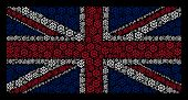 United Kingdom State Flag Composition Constructed Of Boat Steering Wheel Icons On A Dark Background. poster