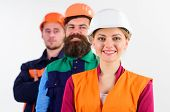 Woman And Men In Hard Hats Stand Close As Team. Builder, Engineer, Labourer As Friendly Team. Equali poster