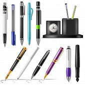 Pen Vector Office Fountainpen Or Business Ballpoint Ink And Sign Of Writing Tools Illustration Set O poster