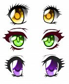 Set Of Anime Eyes Of The Beautiful Colors. poster
