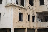 Beqaa, Lebanon, April 04 - 2017: Marks Of War, Lebanese House Machine-gunned, Bombed, Destroyed By C poster