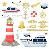 Nautical Navy Boats, Anchor, Wheel Marine And Ocean Theme Design Elements Set For Baby Showers, Birt poster