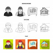 Drawing Accessories, Metropolis, House Model. Architecture Set Collection Icons In Flat, Outline, Mo poster