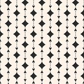 Ornamental Geometric Seamless Pattern. Abstract Monochrome Background With Curved Shapes, Rhombuses. poster