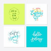 Hand Sketched Set Of Easter Inscriptions, Badge And Icon. Drawn Resurrection Sunday Postcard, Card,  poster