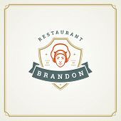 Постер, плакат: Restaurant Logo Template Vector Illustration Chef Man Face In Hat Silhouette Good For Restaurant M