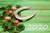 New Year Wishes With A Horseshoe,marzipan And Lucky Clover poster