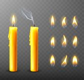 Burning Candle With Dripping Or Flowing Wax, Realistic Vector Illustration. Yellow Candles With Gold poster