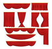 Red Curtains..luxury Scarlet Red Silk Velvet Curtains And Draperies Interior Decoration Design. Velv poster