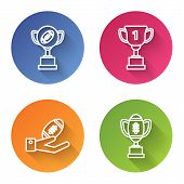 Set Line Award Cup And American Football Ball, Award Cup, American Football Ball On Hand And Award C poster