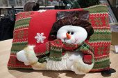 Large Soft Pillow With A Snowman. Scenery For Christmas. Bright Pillow With Decorative Elements, New poster