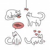 Line Art  Illustration Cute Cats On White Background.  Lovely Funny Cute. Design Element Set. Cute K poster