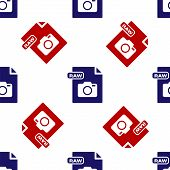 Blue And Red Raw File Document. Download Raw Button Icon Isolated Seamless Pattern On White Backgrou poster