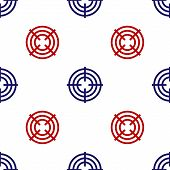 Blue And Red Target Sport For Shooting Competition Icon Isolated Seamless Pattern On White Backgroun poster