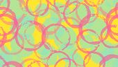 Creative Painted Circles Geometry Fabric Print. Round Shape Splotch Overlapping Elements Vector Seam poster