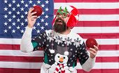 American Tradition. My Country And Tradition. Decor And Accessory. Man Wear Knitted Sweater. Santa C poster