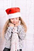 Adorable Kid Gets Ready For Christmas. Girl With Adorable Face poster