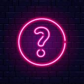 Neon Question Mark. Glowing Pink Question Sign. Color Neon Banner On Brick Wall. Realistic Bright Ni poster