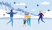 Family - Mother, Father And Children Cartoon Characters Skating On Ice Skate Rink. Christmas Holiday poster