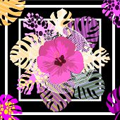 Hand-drawn Tropical Pattern.square Flower Arrangement With Tropical Leaves. Background For Printing  poster