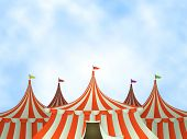stock photo of tent  - Illustration of cartoon circus tents on a blue sky background - JPG