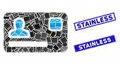 Mosaic Banking Card Pictogram And Rectangular Stainless Seal Stamps. Flat Vector Banking Card Mosaic poster