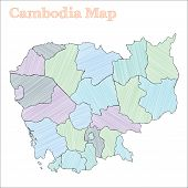 Cambodia Hand-drawn Map. Colourful Sketchy Country Outline. Vector Illustration. poster