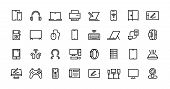Computers Line Icons. Desktop Pc, Laptop And Network Station Pictograms, Tablet Computer And Electro poster