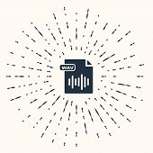 Grey Wav File Document. Download Wav Button Icon Isolated On Beige Background. Wav Waveform Audio Fi poster