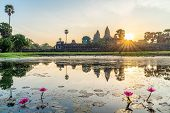 Landscape With Angkor Wat Temple At Sunrise In Angkor Thom, Siem Reap, Cambodia poster