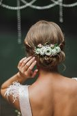 Classic, Simple And Elegant Bridal Hairstyle With White And Pink Rose Flowers. View Of Hairdo From B poster