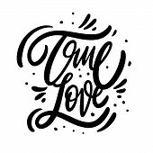 True Love Phrase. Modern Calligraphy Phrase. Black Ink Lettering. Hand Drawn Vector Illustration. poster
