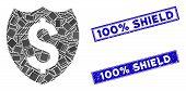 Mosaic Banking Insurance Pictogram And Rectangular 100 Percent Shield Seals. Flat Vector Banking Ins poster