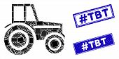 Mosaic Wheeled Tractor Icon And Rectangle Hashtag Tbt Seals. Flat Vector Wheeled Tractor Mosaic Icon poster